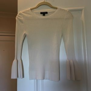 Ribbed sweater with bell sleeve